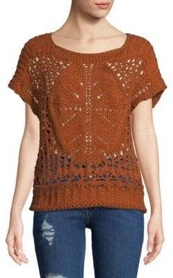 Free People Cap-Sleeve Crochet Trop
