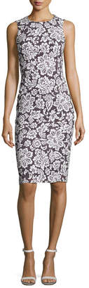 Michael Kors Floral Sleeveless Sheath Dress, Black/White