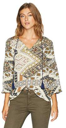 Serene Bohemian Women's Boho Style Full Sleeve Stand Collared with Tassel Tie-up Printed Top (M)