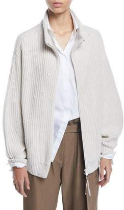 Brunello Cucinelli Shimmered English-Ribbed Cashmere Zip-Front Cardigan