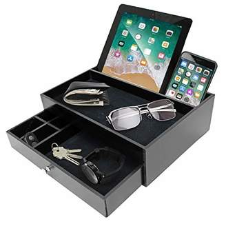 IDEA Valet Organizer Key Tray for Men - Nightstand Catchall Tray as Black Wood Mens Jewerly Watch Box Organizer Valet Stand for Entryway or Dresser - Tablet & Cell Phone Charging Station - Great Gift
