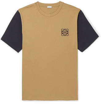 Loewe Logo-Embroidered Two-Tone Cotton-Jersey T-Shirt