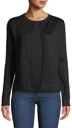 Neiman Marcus Open-Front Sequin Cashmere Cardigan