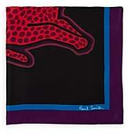 Paul Smith Men's Cat-Print Silk Pocket Square-Black