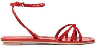 Prada Knot Front Suede Sandals - Womens - Red
