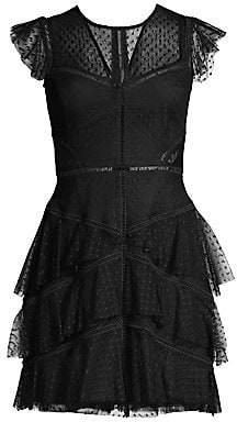 BCBGMAXAZRIA Women's Tiered Tulle A-Line Mini Dress