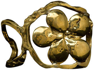 Brass Fusion Open Nugget Cuff with Pearl Impression Flower