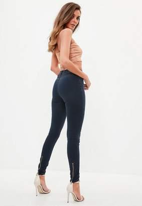 Missguided Indigo Zip Back Super Soft Stone Wash Jeans