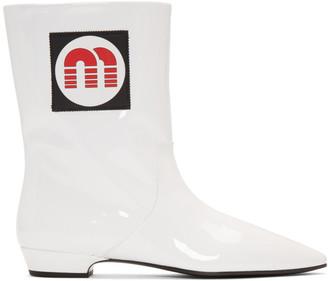 Miu Miu White Patent Logo Boots