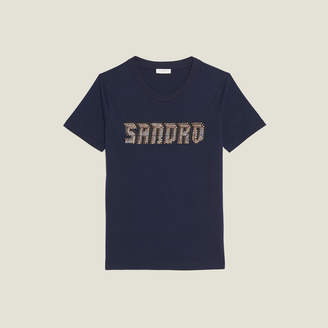Sandro T-shirt lettering trimmed with studs