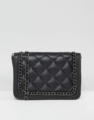 Asos Diamond Quilt Cross Body Bag With Chunky Chain Handle