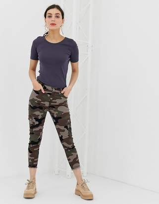 Benetton cargo denim pants with army print