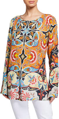 Johnny Was Lentine Long-Sleeve Printed Challis Tunic Blouse