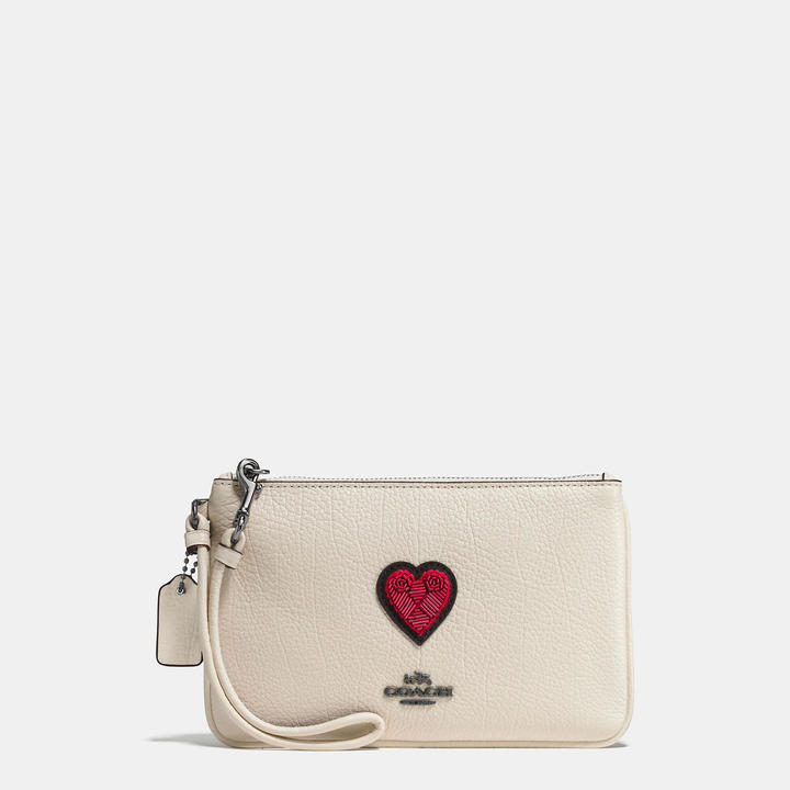 Coach   COACH Coach Small Wristlet In Grain Leather With Souvenir Embroidery