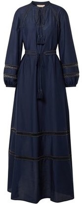 Tory Burch Embellished Cotton And Silk-blend Maxi Dress