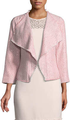Karl Lagerfeld Paris Shimmer-Tweed Open-Front Topper Jacket
