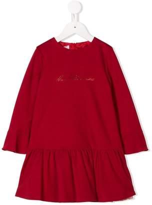Miss Blumarine embellished logo dress