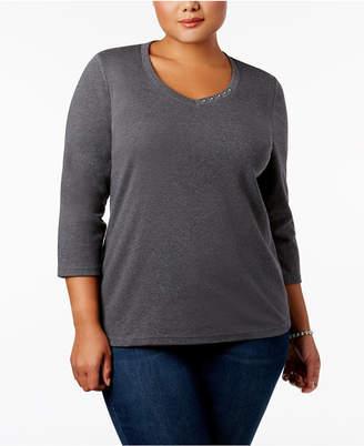 2875c553e45 Karen Scott Gray Plus Size Tops on Sale - ShopStyle