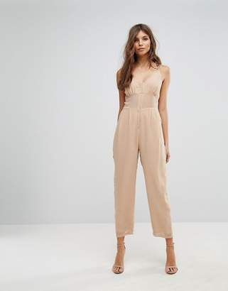 Asos DESIGN Jumpsuit in Chiffon with Corset Bodice