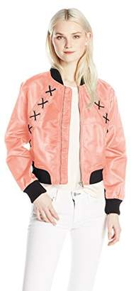 Love by Design Junior's Long Sleeve Bomber Jacket with Lace Up Trims
