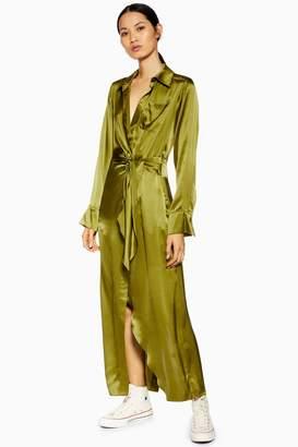Topshop Womens **Wrap Silk Shirt Dress By Boutique - Khaki