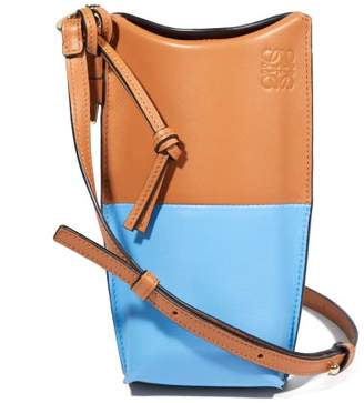 Loewe Gate Pocket Bi Colour Leather Cross Body Bag - Womens - Tan Multi