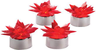 Sterno Home Set Of 24 Poinsettia Flickering Flameless Tea Light Place Card Holders