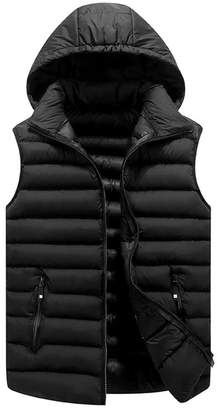 M-Brave Men Winter Outerwear Vests Detachable Hood Waistcoat Outwear Jacket XL