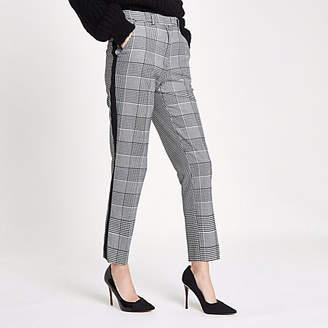 River Island Womens Black check straight leg side stripe trousers