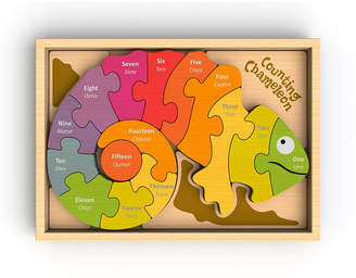 Begin Again Toys Counting Chameleon Wooden Counting Puzzle - Bi-lingual