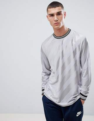 Asos DESIGN relaxed longline long sleeve t-shirt with diagonal shadow stripe with tipping in gray