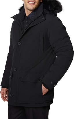 Tahari Mens Men's Button-Down Hooded Parka w/ Fox Fur Trim