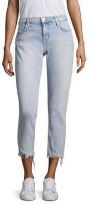 Current/Elliott The Cropped Distressed Hem Straight Leg Jeans