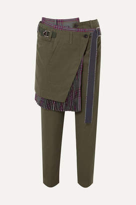 Sacai Layered Cotton-twill And Wool Pants - Army green