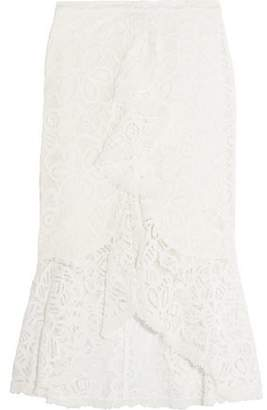 Alexis Marcello Ruffled Corded Lace Midi Skirt