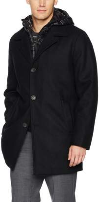 Calvin Klein Men's Wool Walker Jacket with Packable Bib and Hood