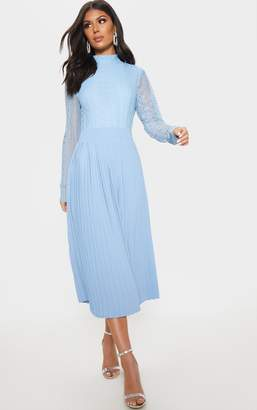 PrettyLittleThing Dusty Blue Lace Top Pleated Midi Dress