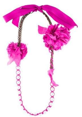Lanvin Faux Pearl, Chain & Ribbon Collar Necklace