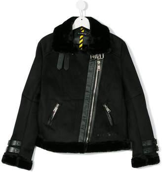 John Richmond Kids Teen faux fur trim biker jacket