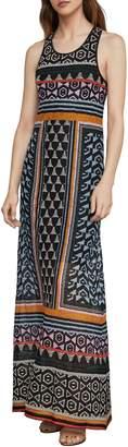 BCBGMAXAZRIA Mixed-Print Lace Maxi Dress