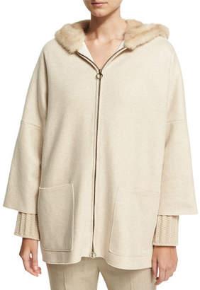 Agnona Cashmere Zip-Front Parka with Mink Fur Hood