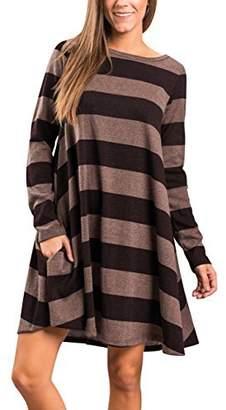 MEROKEETY Women's Crew Neck Striped Long Sleeve Swing Tunic Dress with Pockets