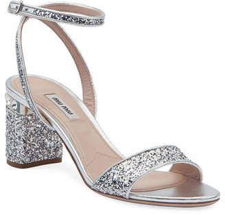 Miu Miu Glitter Crystal-Embellished Block-Heel Sandals