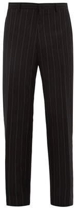 Lanvin Pinstriped Wool Blend Trousers - Mens - Blue Multi