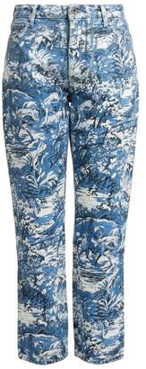 Off-White Off White Tapestry Print Cropped Jeans - Womens - Blue White