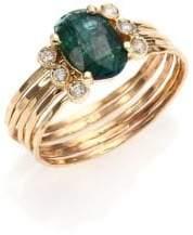 Jacquie Aiche Green Tourmaline, Diamond& 14K Yellow Gold Multi-Row Waif Ring