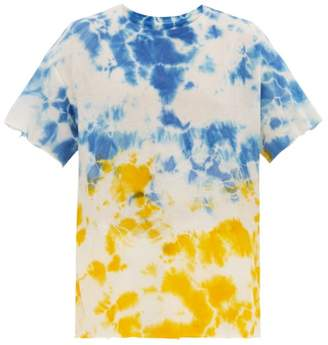 The Elder Statesman Favorite Tie Dyed Cashmere Blend T Shirt - Mens - Blue Multi