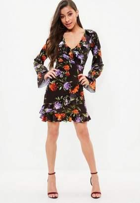 Missguided Black Printed Velvet Ruffle Tea Dress