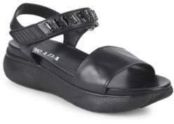 Prada Embellished Leather Platform Sandals