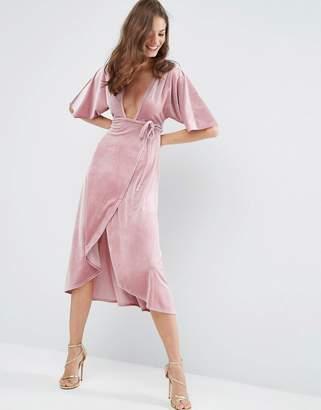 ASOS Kimono Tie Velvet Plunge Midi Dress $61 thestylecure.com